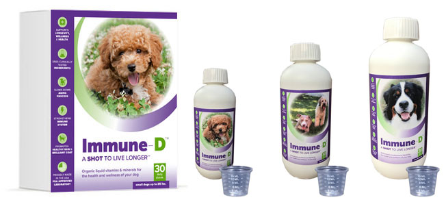 Immune-D box and sizes for small medium and large dogs.